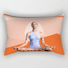 Feminine energy. A woman meditates in the Lotus position. Abstract orange painting. Rectangular Pillow