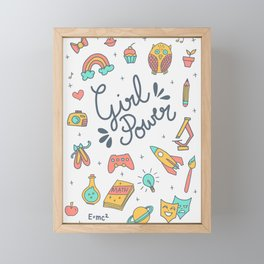 Girl Power - Coral + Aqua + Yellow Framed Mini Art Print