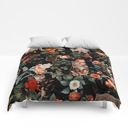 Cat and Floral Pattern II Comforters