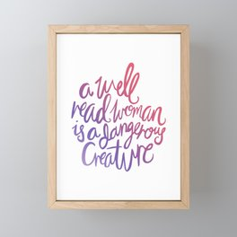 Well Read Woman - Girl Nerd Quote - Gradient Framed Mini Art Print