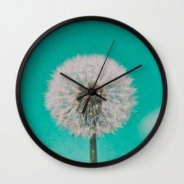 Green Blue Dandelion Wall Clock