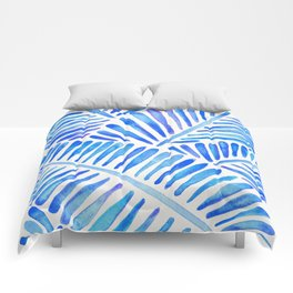 Tropical Banana Leaves – Blue Palette Comforters