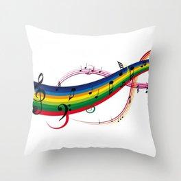 Colorido pentagrama Throw Pillow