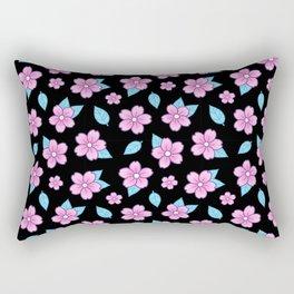 Sakura // Black Rectangular Pillow