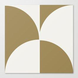 Diamond Series Round Checkers White on Gold Canvas Print