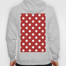 Polka Dots - White on Firebrick Red Hoody