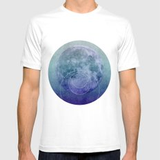Blue Moon geometric circle mixed media White Mens Fitted Tee MEDIUM