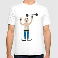 The Strongman from the circus White SMALL Mens Fitted Tee