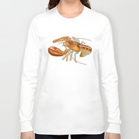 maine Long Sleeve T-shirts featuring Maine Lobster by Tim Jeffs Art