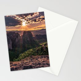 Thessaly Meteora mountain valley sunset mountains forest mountain landscape Greece Stationery Cards