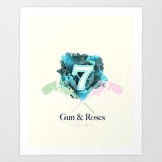 Gun & Roses Art Print