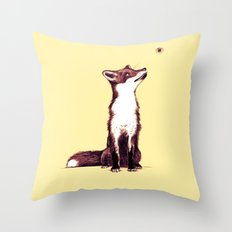 Brown Fox Looks at Thing Throw Pillow