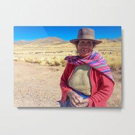 Peruvian village woman. Metal Print
