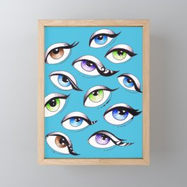 Bunch Of Eyes Blue Framed Mini Art Print