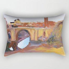 Toledo, Impressionist landscape, Spanish town, bridge Rectangular Pillow