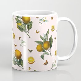 Oranges and Butterflies in Blush Coffee Mug
