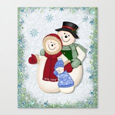 Snowman and Family Glittered Canvas Print