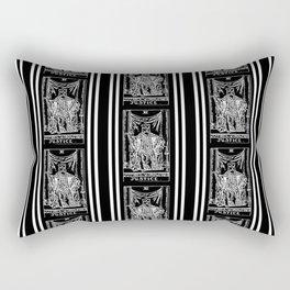 Black and White Tarot Print - Justice Rectangular Pillow