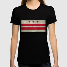 Washington D.C flag with worn stone marbled patina Womens Fitted Tee LARGE Black