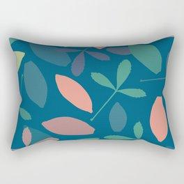 Leaves: Blue Rectangular Pillow