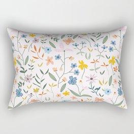 Vintage Inspired Wildflower Print Light Rectangular Pillow