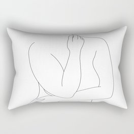 Nude figure line drawing - Eila Rectangular Pillow