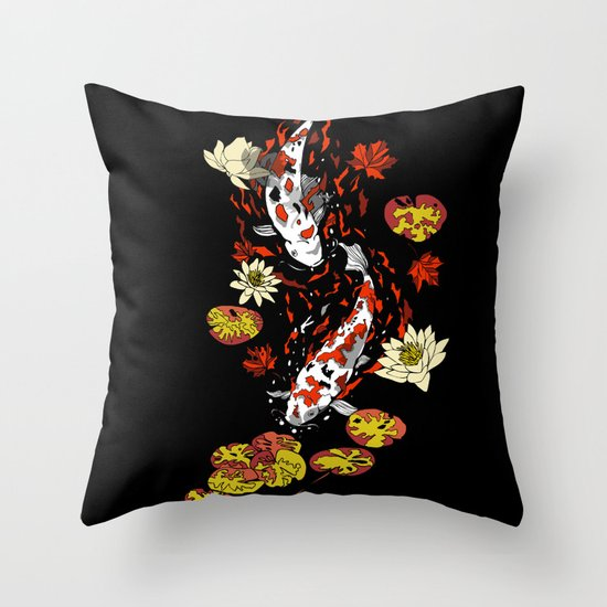 FALLING FISHES Throw Pillow