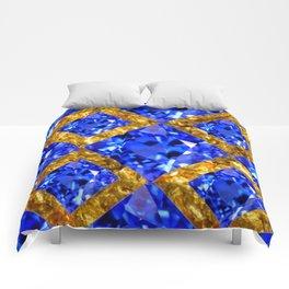 ASYMMETRIC ROYAL BLUE SAPPHIRE GEMSTONES ART ON GOLD Comforters