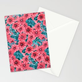 Red watercolor petunia flower pattern Stationery Cards