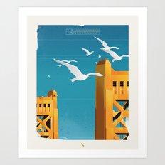 Sacramento Tower Bridge Travel Poster Art Print
