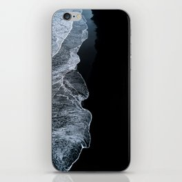 Waves on a black sand beach in iceland - minimalist Landscape Photography iPhone Skin
