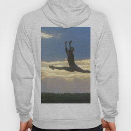 Sporty young woman jumping outdoor morning clouds background, Athlete Woman jump beautiful sunrise m Hoody
