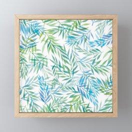 Watercolour Ferns | Blue Green Framed Mini Art Print