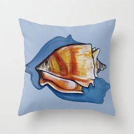 Shell One in Blue Throw Pillow