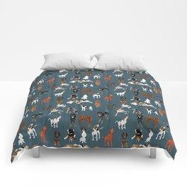 Coonhounds on Dark Teal Comforters