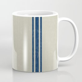 Blue Stripes on Linen color background French Grainsack Distressed Country Farmhouse Coffee Mug