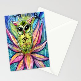 Lotus Owl original illustration from Spirit Owl Series by Sheridon Rayment Stationery Cards