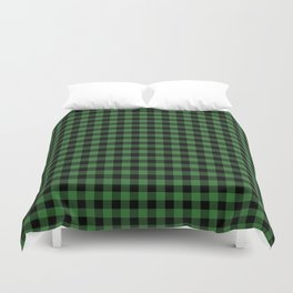 Classic Green Country Cottage Summer Buffalo Plaid Duvet Cover