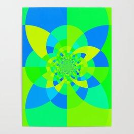 Green & Turquoise Kaleidoscope Design Poster