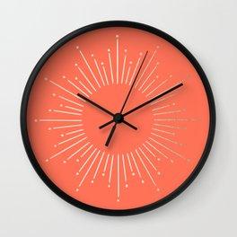 Simply Sunburst in Deep Coral Wall Clock