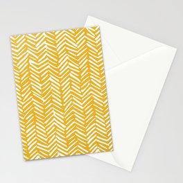Boho Abstract Herringbone Pattern, Summer Yellow Stationery Cards