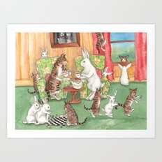 Tea with the Tabbies Art Print
