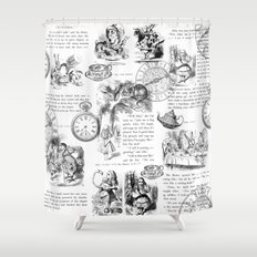 Alice in Wonderland - Pages Shower Curtain
