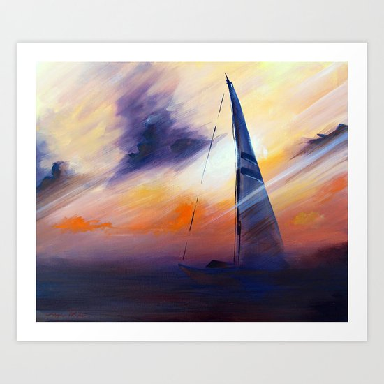 Untitled Boat on the Sea  Art Print