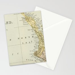 Vintage Map of New Zealand Stationery Cards