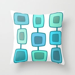 MidCentury Modern Swatches (Turquoise) Throw Pillow