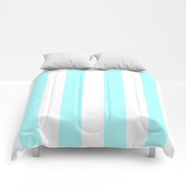 Vertical Stripes - White and Celeste Cyan Comforters