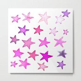 Pink Watercolor Stars! Metal Print