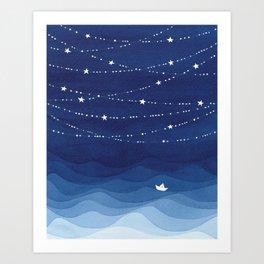 night sky, ocean painting Art Print