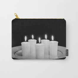 Candles On Plate-bw Carry-All Pouch